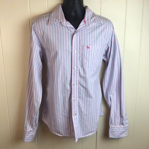 Abercrombie Mens Striped Button Down Dress Shirt